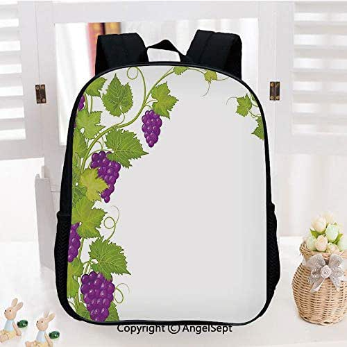 Lightweight Backpack Latin Brochure Label Italian Town Province Vintage Menu Sign Artwork School Bag for Kid Girls Boys Travel College School Bags,Violet Green