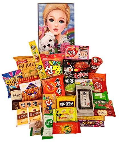 OH! HAPPY KOREAN SNACK B♥X(30 Count): Pies,Chips,Cookies,Candies,Spicy Ramen,Foods,Variety Snack; Painting of Korean artist: Art meets Korean snack culture (Art by Giae Kim)