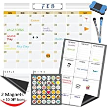 2 Bundle Dry Erase Calendar, Fridge Magnetic Calendar, White Board Planner for Refrigerator, Monthly and Weekly with Reusable DIY Icon