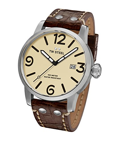 TW Steel Men's 'Maverick' Quartz Stainless Steel and Leather Casual Watch, Color:Brown (Model: MS22)