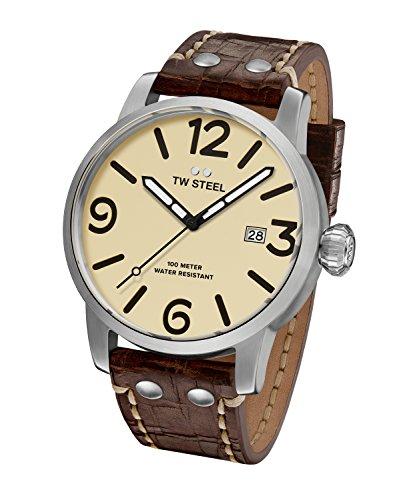 (TW Steel Men's Maverick Stainless Steel Quartz Watch with Leather Calfskin Strap, Brown, 25 (Model: MS22))
