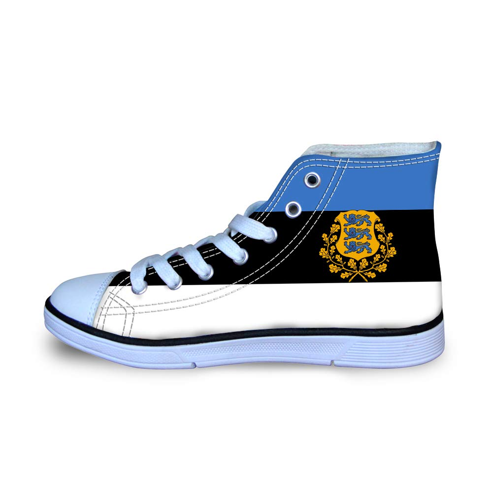 Canvas High Top Sneaker Casual Skate Shoe Boys Girls Estonia Flag National Emblem