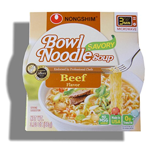 Nongshim Bowl Instant Noodle Soup Assorted Flavors (Savory Beef)
