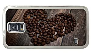 Hipster rugged Samsung Galaxy S5 Case heart coffee beans PC Transparent for Samsung S5