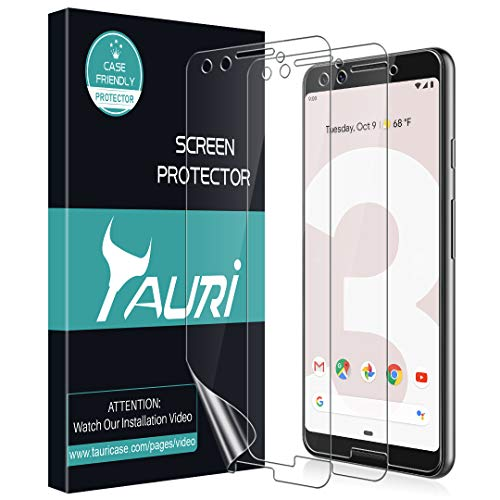 [3-Pack] TAURI Screen Protector for Google Pixel 3, Full Coverage Liquid Skin Screen Protector Case-Friendly Anti-Bubble HD Clear Flexible Film, Lifetime Replacement Warranty