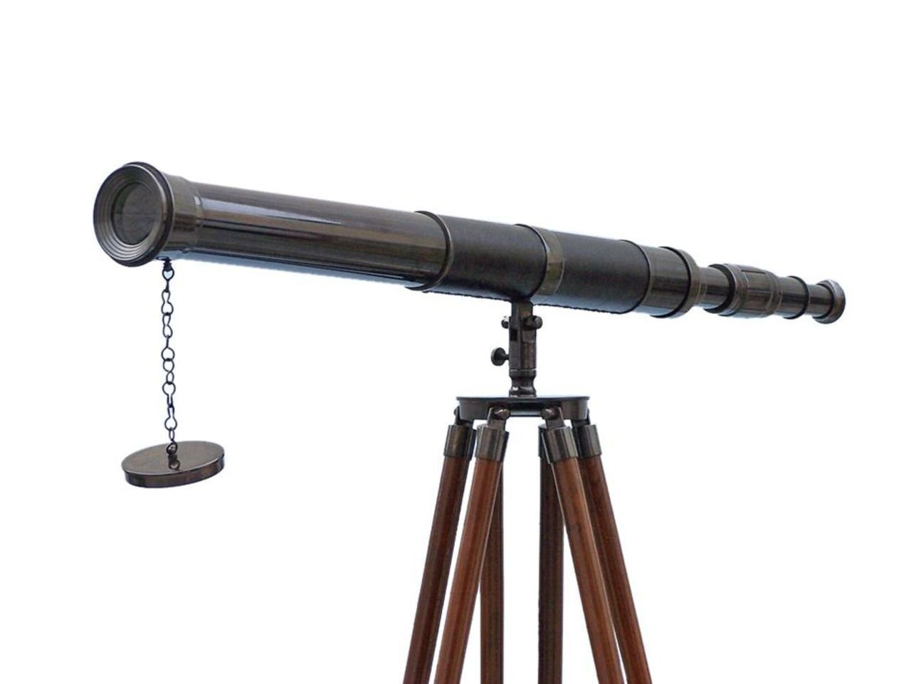 Hampton Nautical  Floor Standing Oil Rubbed Bronze - Leather Admiral Telescope 60'' - Nautical Home - Vintage Telescope