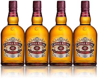Chivas Regal Juego de 4 vasos de whisky escocés de 12 años, whisky, chupito, licor, alcohol, botella, 40 %, 4 x 700 ml