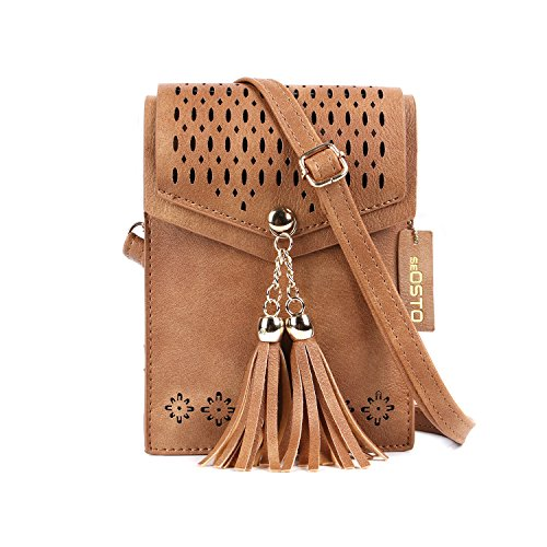 Small Crossbody Bag for Women seOSTO PU Leather Wallet Cell Phone Pouch Mini Single Shoulder Bag Handbag Purse with Shoulder Strap for Women Girls Fit iPhone X 8 8 Plus Galaxy Note 8 (Brown Tassel)