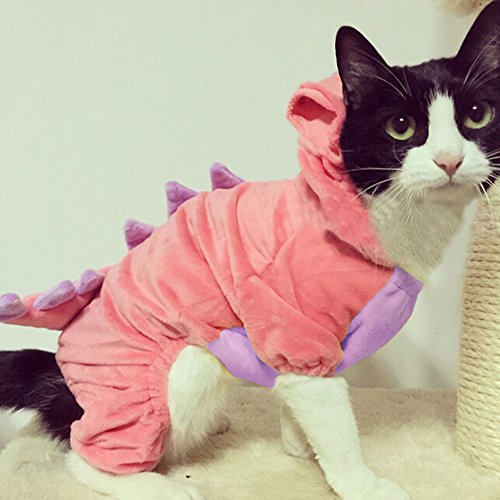 Picture of Bro'Bear Pet Plush Outfit Dinosaur Costume with Hood for Kitties Cats Jumpsuit Winter Coat Warm Clothes (Pink, X-Large)