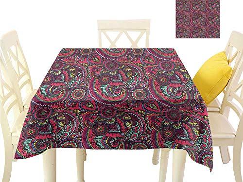 - WilliamsDecor Kitchen Table Cover Paisley,Geometrical Shapes Teardrop BBQ Tablecloth W 70