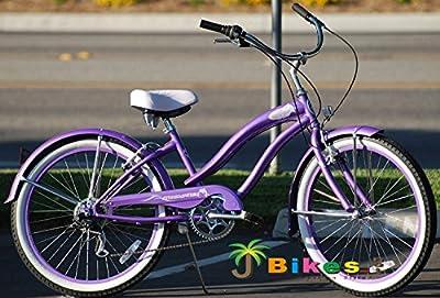 "Micargi ROVER-247SP-F-PP 24"" Women's 7 Speed Beach Cruiser Bicycle Bike, Purple"