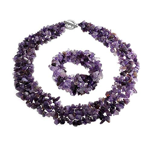 - Bling Jewelry Multi Strand Necklace 18 Inch Bracelet 7 Inch Set with Simulated Amethyst Chips Cluster Silver Plated