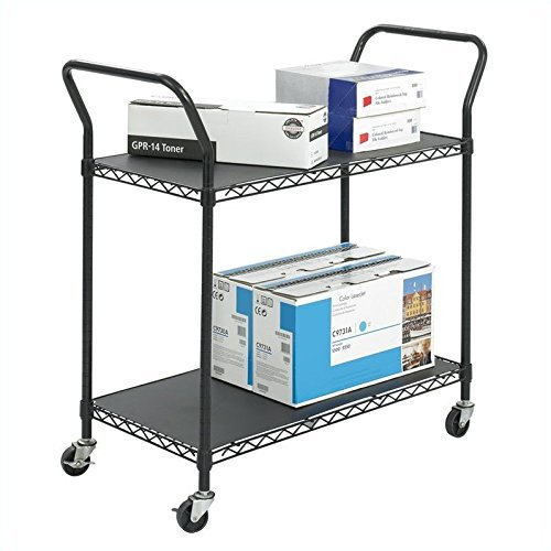 Safco Products 5337BL Wire Utility Cart with 2 Shelves, Rated up to 400 lbs. , Black by Safco