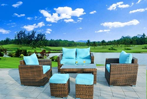 6 Piece Outdoor PE Rattan Wicker Patio Furniture Sectional Sofa Set Aqua Blue