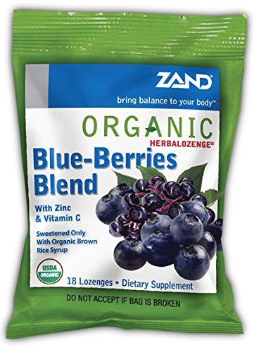 Zand - Herbalozenge Organic Blue-Berries Blend with Zinc & Vitamin C Elderberry Blueberry Flavor - 18 Lozenges (pack of (Organic 18 Lozenges)