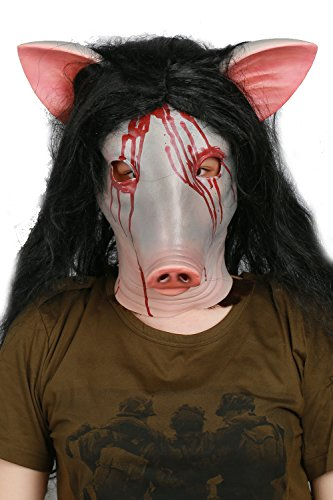 Jigsaw Mask with Wig Deluxe Latex Horrible Full Head Halloween Cosplay Costume Prop ()