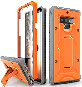Galaxy Note 9 Case - ArmadilloTek Vanguard Series Military Grade Rugged Case with Built-in Screen Protector and Kickstand for Samsung Galaxy Note 9 (2018) - Vibrant Orange/Gray