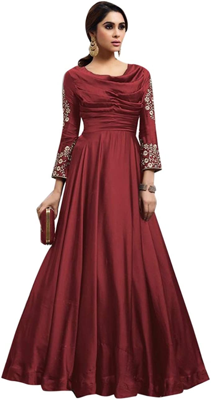 Designer Ladies Evening Cocktail Dress Fobi Silk Gown Indian Women Party Wear 8066 At Amazon Women S Clothing Store