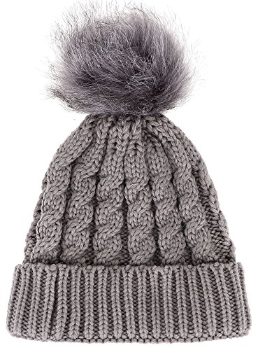 Winter Warm Thick Hand Knitted Beanie Hat with Faux Fur Pom Pom, Grey