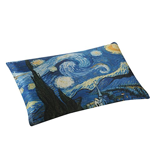 ALASKA BEAR - Natural Silk Pillowcase, Hypoallergenic, 19 Momme, 600 Thread Count 100 Percent Mulberry Silk, Queen Size with Hidden Zipper, Custom Painting Pillow Case for Room Décor(1, Starry Night)
