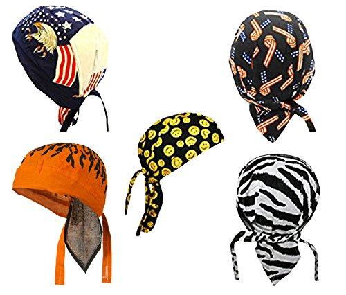 Do Wrap Headwrap - Doo-Rag Skull Du-Cap Set Do-Bandana Chemo Head-Wrap Motorcycle
