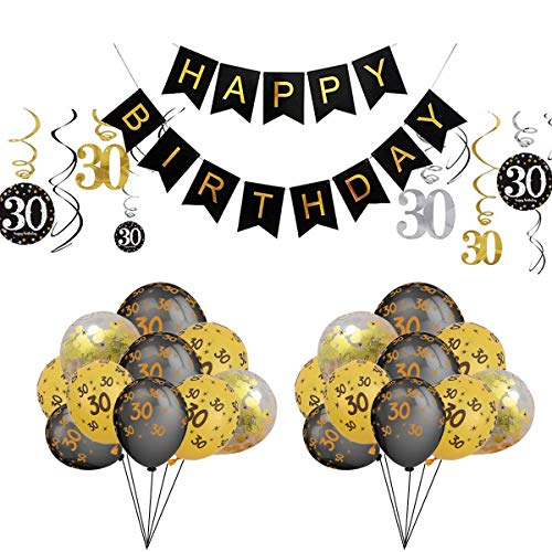 30th Birthday Party Decorations kit Happy Birthday Banner,30 Foil Hanging Swirls,Number Print and Confetti Balloons Party Favors for -