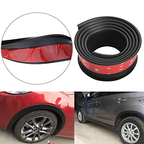 Car Trucks Wheel Fender Mudguard Extension Flares Protector 3M Rubber Moulding Strip Trim 2X 4.9ft (black)