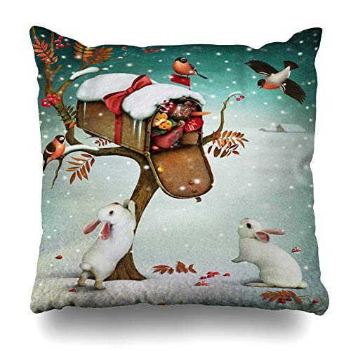 Ahawoso Throw Pillow Cover Snowflake Red Mailbox Christmas Winter Forest Fabulous Fantasy Holidays Tree Bunny Vintage Bird Home Decor Zippered Pillowcase Square Size 18 x 18 Inches Cushion Case (Holiday Decor Bird)