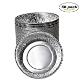 50-Pack Foil Baking Cups Aluminum Baking Pans Disposable Ramekins 6.5''(Diameter) X 2.2''(H)