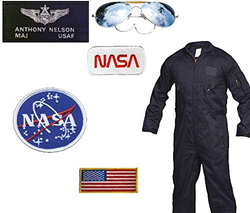 Larry Boy Costume (USAF-NASA Astronaut Costume - Major Nelson (Small, Navy Blue))
