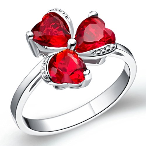 FENDINA Womens Silver Plated Synthetic Triple Hearts Ruby CZ Diamond Crystal Wedding Engagement Bands Ring Girlfriend Promise Rings for Her Size 8