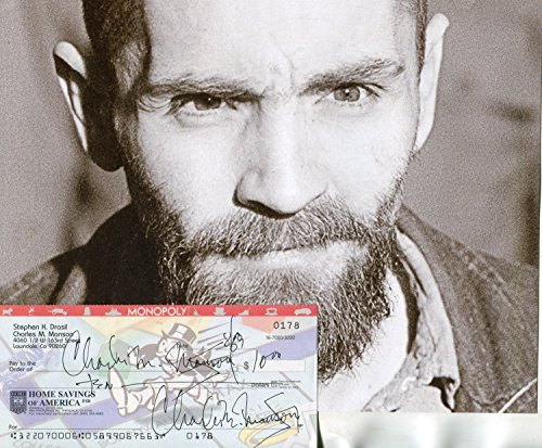 CHARLES MANSON / Manson Family rare twice signed personal check/photo - UACC RD # 212 from Mike Munns Autographs & Sports Collectibles / Est. 1986