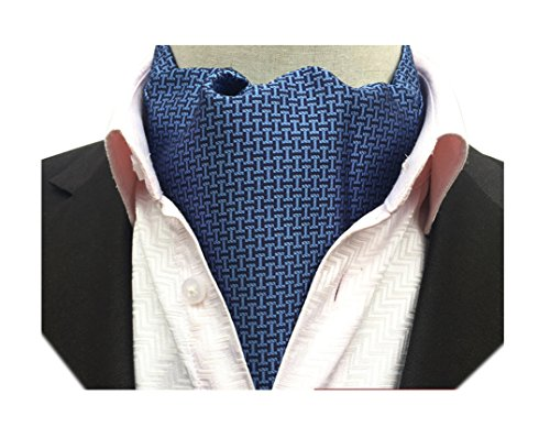 Jacquard I-dye Fabric Dye (Secdtie Men's Blue Plaid Designer 100% Silk Cravat Ties Jacquard Woven Ascot 09)