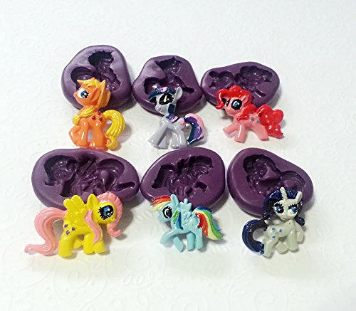 Silicone Molds My Little Pony MLP Moulds Set (26-35mm) Cupcake Topper Sugarcraft