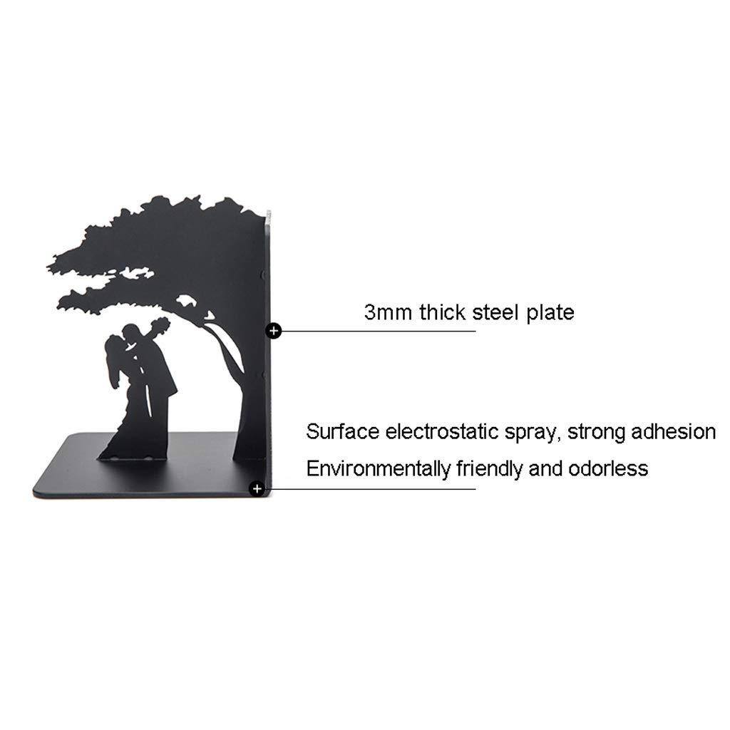 Color : A nero Simpatico Antiscivolo Fermalibri Reggilibri in Metallo Ferro battuto Bookend Coppie romantiche e Decorazione albero di Bookends antiscivolo Art Bookend 1 coppia