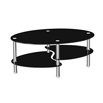 2 Tier Tempered Glass Coffee Table Fishtail Oval Glass End Table Sturdy  Chrome Plated Legs Home