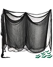 قماش مخيف لعيد الهالوين من Abida ، مقاس 35 × 78 بوصة ، ديكور الهالوين المخيف مع عصا الفلورسنت الخفاش للمنازل المسكونة والمداخل الحفلات الخارجية