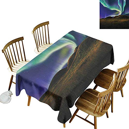 Aurora Henna Henna - kangkaishi Iron-Free Anti-fouling Holiday Long Tablecloth Table decorationAlaskan Meadows in The Night with Aurora Borealis Natural Beauties of The North W60 x L84 Inch Multicolor