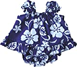 RJC Baby Girl's Hibiscus Pareo Puff Sleeve Hawaiian 2 Piece Dress Set Royal Blue 6-Months