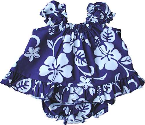 Hawaiian Royal Dress (RJC Baby Girl's Hibiscus Pareo Puff Sleeve Hawaiian 2 Piece Dress Set Royal Blue 12-Months)