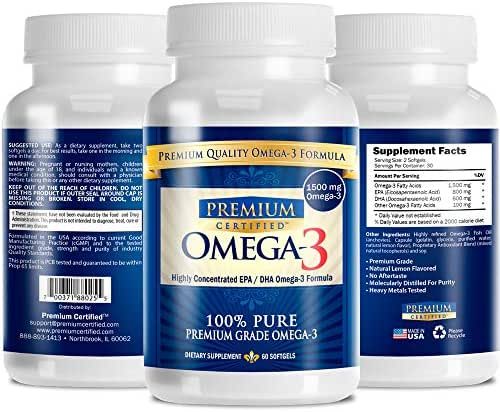 Omega-3 Premium: Pharmaceutical Grade Omega3 Fish Oil - 800mg EPA & 600mg DHA - No Aftertaste - 180 Capsules - 3 Month Supply - The #1 Health Supplement