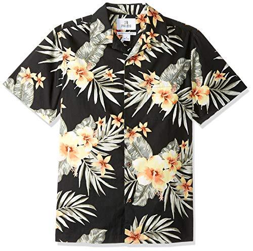 28 Palms Men's Standard-Fit 100% Cotton Tropical Hawaiian Shirt, Black/Light Yellow Hibiscus Floral Large ()