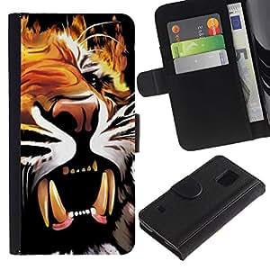 Billetera de Cuero Caso Titular de la tarjeta Carcasa Funda para Samsung Galaxy S5 V SM-G900 / Painting Poster Fangs Tiger Roar Yawn / STRONG