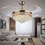 SDKKY Invisible fan lamp, LED lamp, ceiling fan, household living room, light extended electric fan, restaurant lamp,Gold remote control