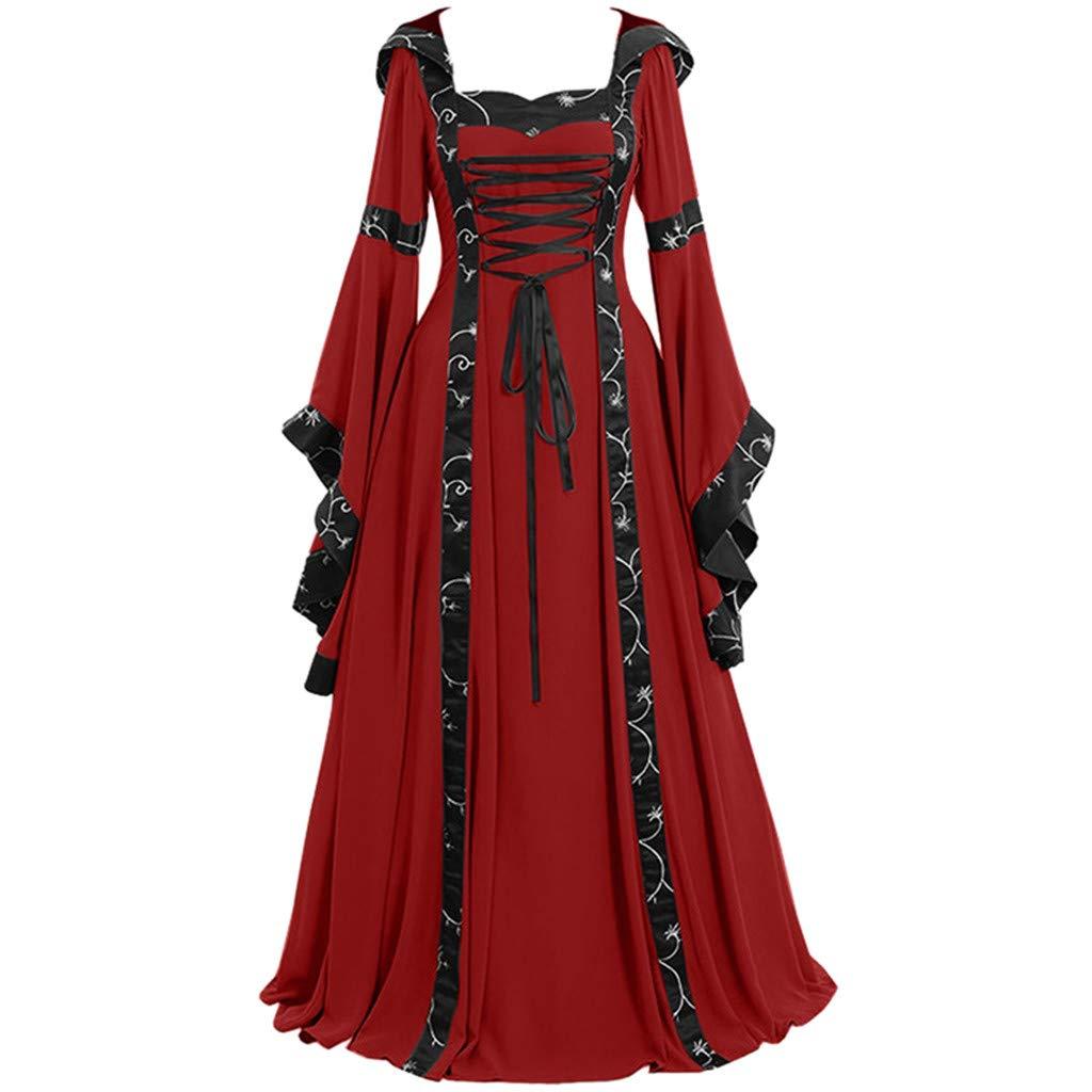FEDULK Plus Size Womens Retro Vintage Dress Celtic Medieval Floor Length Renaissance Gothic Cosplay Dress(Red, XXXXX-Large)