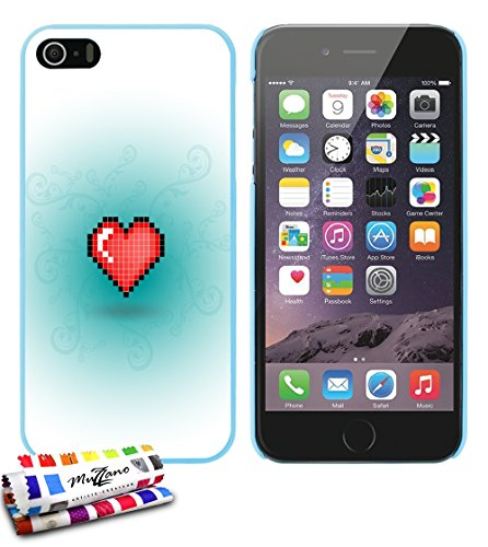 Ultraflache weiche Schutzhülle APPLE IPHONE 5S / IPHONE SE [Herz-pixel-rot] [Lagunenblau] von MUZZANO + STIFT und MICROFASERTUCH MUZZANO® GRATIS - Das ULTIMATIVE, ELEGANTE UND LANGLEBIGE Schutz-Case f