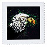 3dRose Sven Herkenrath Animal - American Eagle with Artistic Drawing Red and Green - 22x22 inch quilt square (qs_280252_9)