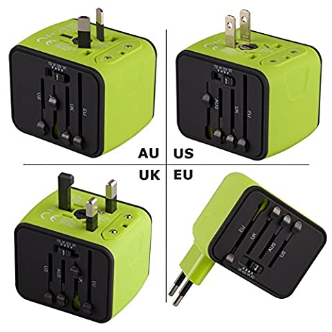 Universal Travel Adapter, Iron-M All-in-one International Travel Charger with 2.4A Dual USB, Worldwide Travel Power Adapter Plug Wall Charger for US, UK, EU, AU & Asia Covers 150 - Outlet Converter