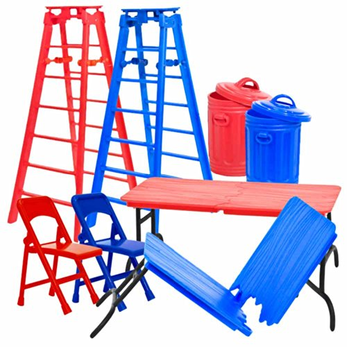 Red and Blue Folding Chairs, Breakable Tables, Ladders, and Trash Cans for WWE Wrestling Action Figures (Set of 8)