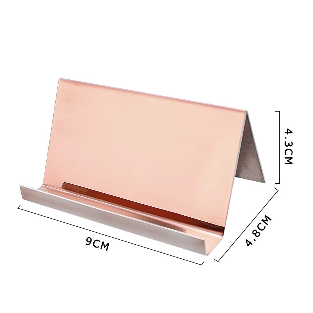 2 Pack Desktop Business Card Holder for Office Desk Name Card Display Rack Organizer Stainless Steel by WUYASTA (Image #2)